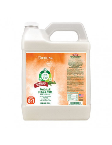 Tropiclean Natural Flea & Tick Shampoo Maximum Strength Gallon 3.8 Litres