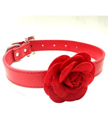 Pawzone Stylish Red Flower Collar