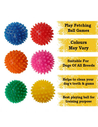 Pawzone Spiked Rubber Dog Ball (Color May Vary)
