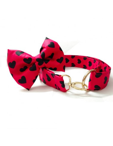 Pawzone Hearts Collar with Bow For Dogs
