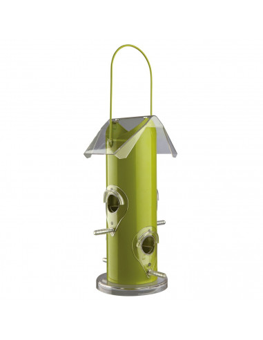 Outdoor Bird Food Dispenser, Metal, Silver