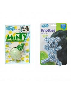 Pet Brands Large Minty Fresh Rubber Ball + Pet Brands Knotty Teady Bear