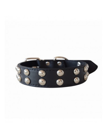 Pawzone Broad Two Row Studded Brown Collar For Dogs