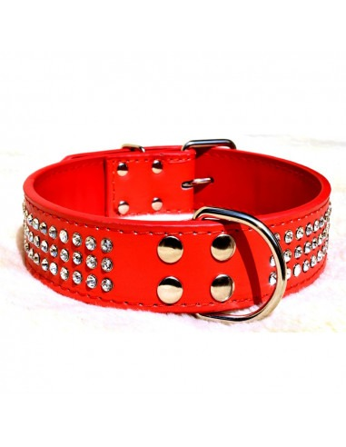 Three row Crystal studded Red collar