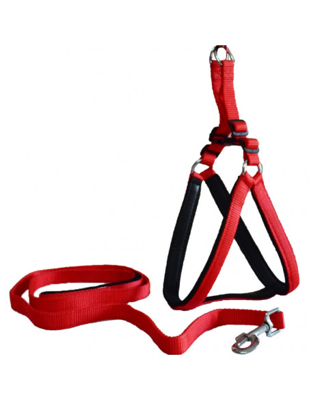 Pawzone Soft padded Body Set-Leash & Harness-Red