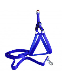 Pawzone Padded Adjustable Blue Body Harness with Leash Set
