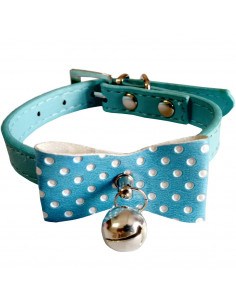 Pawzone Stylish Blue Bow with Bell Cat Collar