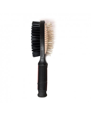 Pawzone Double-Sided Pin Brush, Black-L