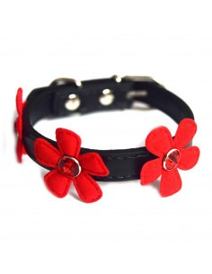 Pawzone Black & Red  Adjustable Flower Cat Collars