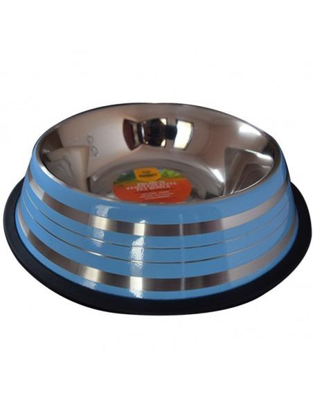 Pawzone Anti Skid Steel Dog Bowl(Blue)