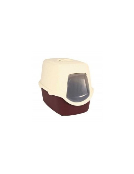 Trixie Vico Cat  Litter Tray With Dome(Bordeaux/cream)