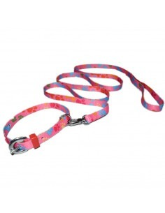 Pawzone Pink Paw Printed Puppy Collar Leash