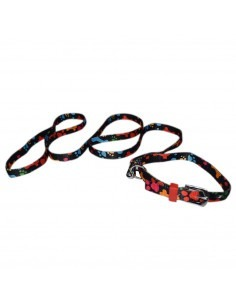 Pawzone Black Paw Printed Puppy Collar Leash