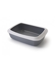 Savic Iriz Cat Litter Tray + Rim, Cold Grey, 17 inch