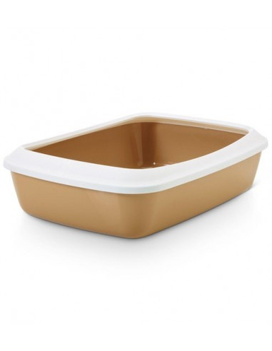 Savic Iriz Cat Litter Tray + Rim, Retro Brown, 17 inch