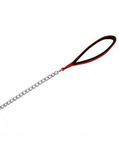 Trixie Chain Leash with Nylon Hand Loop, Red, 2mm thickness