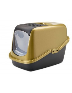 Savic Nestor Cat Toilet Home, Glitter Gold Black