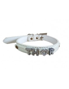 Pawzone White Silver Studded Customized Collar