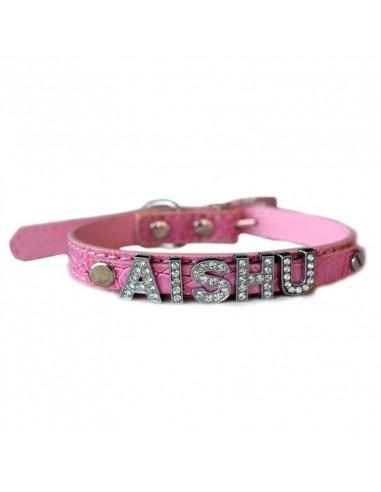 Pawzone Collar Pink Silver Studded Alphabets Upto 7 alphabets