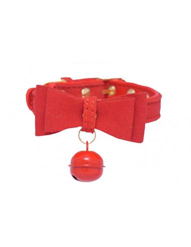 Pawzone Stylish Red Bell Collar XS