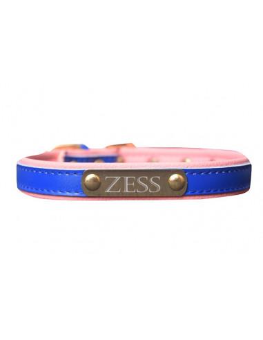 Pawzone Dark Blue Gold Name Plate Collar