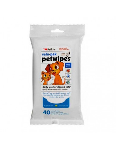 Petkin Pet Wipes For Dogs and Cats, 40 pcs