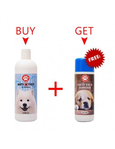 Pawzone Anti Tick Pet Shampoo 1000ml + Pawzone Anti Tick Powder 100gms